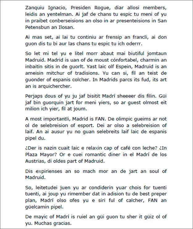 El guión de Ana Botella Ante el COI