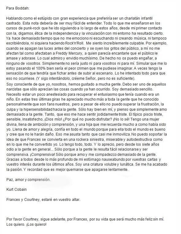 """La carta del """"supuesto"""" suicidio de Kurt Cobain"""