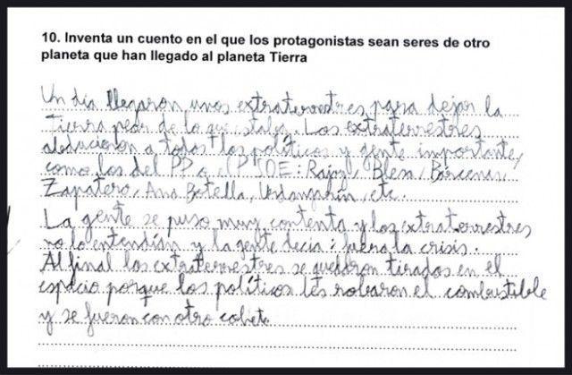 La curiosa respuesta de un niño de 9 años a un examen de lengua
