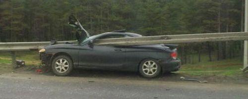 Accidente contra la valla de protección