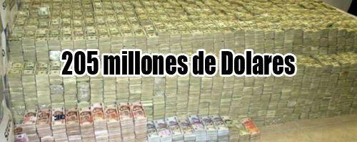 205 millones de dolares en la casa