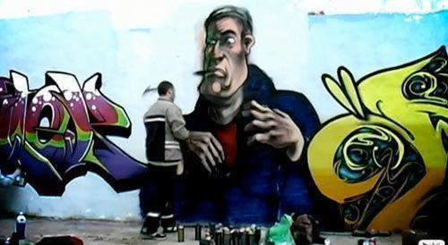 Grafiteando en el cumpleaños de Borja