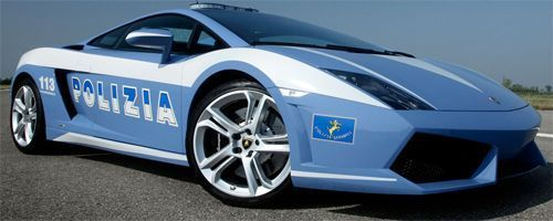 Lamborghini de la policia Italiana estrellado